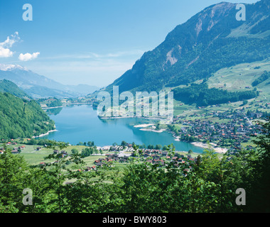 scenery canton Obwalden hanging around Lungernsee Switzerland Europe overview - Stock Photo