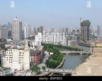 Modern and old architecture along Suzhou River near The Bund, China - Stock Photo