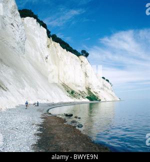 Denmark Europe island isle Mon cliffs chalk rocks coast people sea Mons Klint steep coast Stock Photo