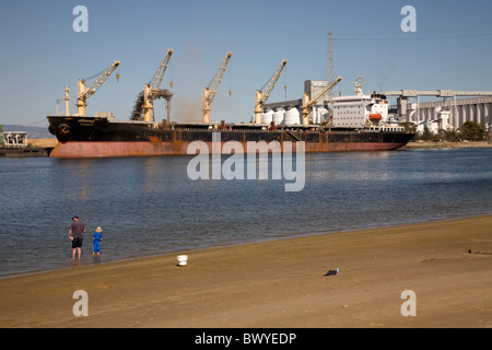 Cargo ship Being Loaded Port Adelaide Australia - Stock Photo