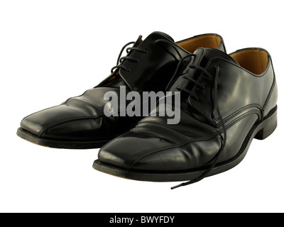 A comfortable pair of black leather traditional lace up shoes. - Stock Photo
