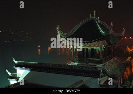Zhang Fei Temple at night, The Three Gorges Scenic Area, Yunyang, Chongqing, China - Stock Photo