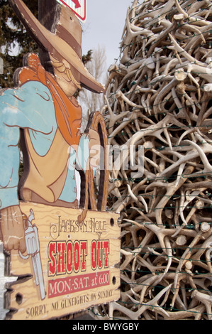 USA, Wyoming, Jackson Hole. Historic Town Square. Elk antler arch constructed of hundreds of antlers. - Stock Photo