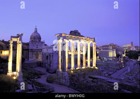 antique Ancient world antiquity forum Romanum Italy Europe night at night Rome Roman ruins columns - Stock Photo