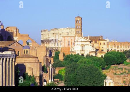 antique Ancient world antiquity Coliseum forum Romanum Italy Europe church Rome Roman ruins Santa Frances - Stock Photo