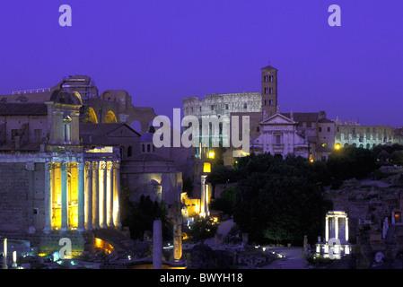 antique Ancient world antiquity illuminated Coliseum forum Romanum Italy Europe church Rome Roman Santa F - Stock Photo