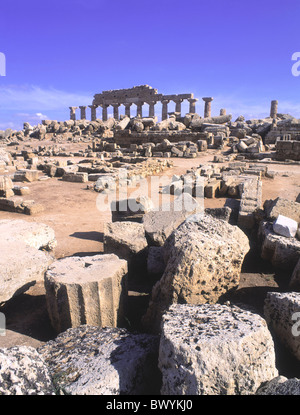 Acropolis antique Ancient world antiquity Italy Europe ruins columns Selinunte Sicily temple - Stock Photo