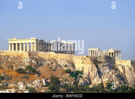 Acropolis antique Ancient world antiquity Athens rock cliff Greece in Greek Parthenon temple UNESCO worl - Stock Photo