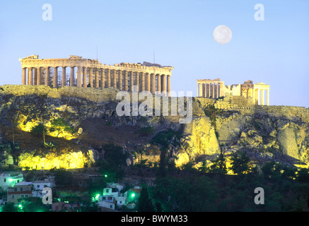 Acropolis antique Ancient world antiquity Athens rock cliff Greece in Greek moon night at night Partheno - Stock Photo