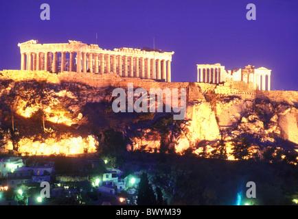 Acropolis antique Ancient world antiquity Athens bleuchtet rocks cliffs Greece in Greek historical night - Stock Photo