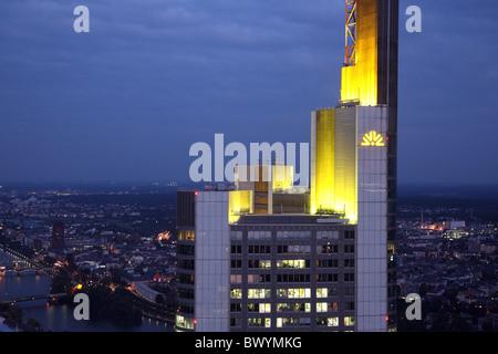 Commerzbank Tower and Main, Frankfurt, Germany - Stock Photo