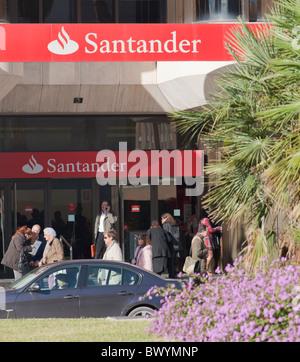 Branch of Santander bank in Malaga, Spain. - Stock Photo