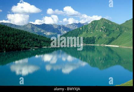 alpine Alps mountains bergsee canton Ticino Lago Ritom scenery Switzerland Europe lake sea reservoir lak - Stock Photo
