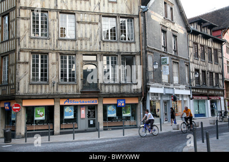 Half timbered medieval buildings in Troyes, France - Stock Photo