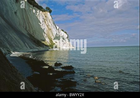 Denmark Europe island isle Mon chalk rock scenery sea steep coast mood beach seashore