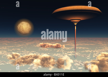 UTOPIA - A futuristic space station hovers above the Earth. - Stock Photo
