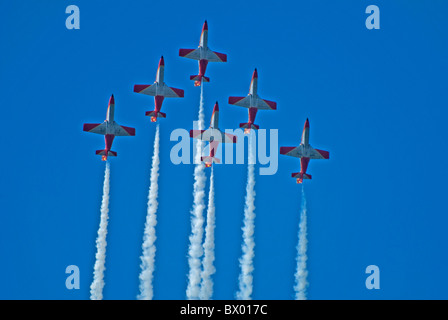 Six Patrulla Aguila display team spanish air force display team six  CASA C-101EB Aviojets - Stock Photo