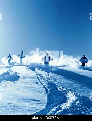 mountains Carving ski group monochrome snow ski skiing sport deep snow deep snow driving winter winter s - Stock Photo