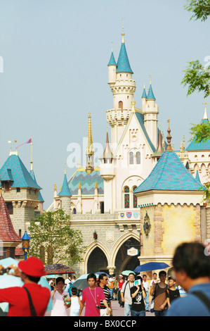 Sleeping Beauty Castle, Fantasyland, Hong Kong Disneyland, Lantau Island, Hong Kong, China - Stock Photo