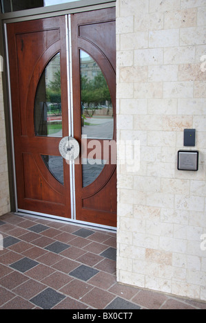 Disabled automatic door control; Automatic doors for handicapped access with special disabled assistance button Frisco Library Texas & Handicapped disabled access automatic door opener button switch with ...