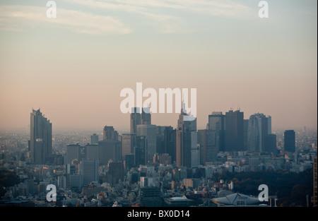 View of Shinjkuku and Nishi-Shinjuku skyscrapers, seen from Roppongi district of Tokyo, Japan. - Stock Photo