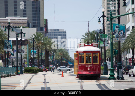 Since the 1800s, New Orleans streetcars like this one on Canal Street have been an integral part of the city's transportation. - Stock Photo