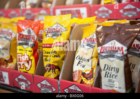 The French Market in the French Quarter of Louisiana, New Orleans sells spices and condiments for Cajun and Creole - Stock Photo