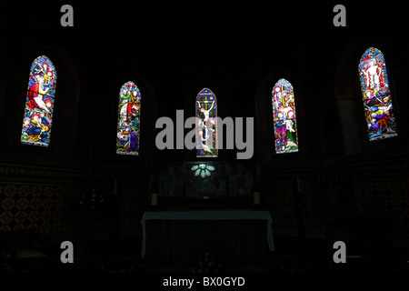one of (17) images in this set related to St Mary the Virgin Church in Jackfield, Shropshire, England. Stained glass - Stock Photo