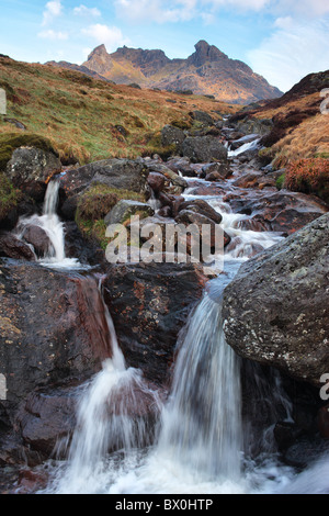 Daybreak on The Cobbler, seen from a waterfall on the Butter Burn - Stock Photo