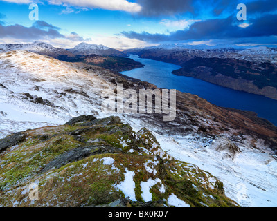 A winter daybreak on Loch Lomond and the Arrochar Alps from the summit of Beinn Bhreac - Stock Photo