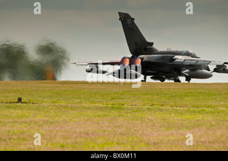 Tornado GR4 ZA452 on full afterburner for takeoff at RAF Waddington - Stock Photo