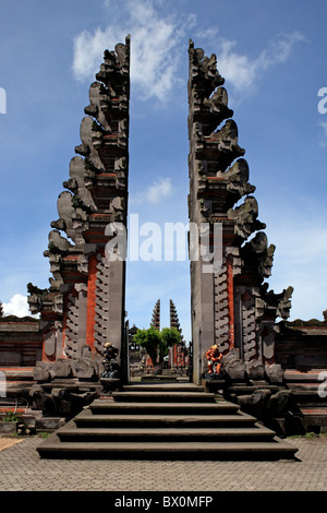 Split gateways, or candi bentar at the temple near Lake Batur, Pura Ulun Danu Batur. Kintamani, Bali, Indonesia. - Stock Photo