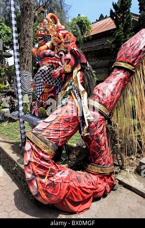 A dragon attached to one of the entrances to the temple near Lake Batur, Pura Ulun Danu Batur. Bali, Indonesia - Stock Photo