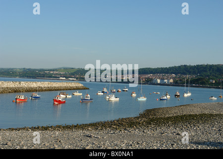 View of boats at Rhos-on-Sea, Colwyn Bay, Conwy LL28, North Wales, United Kingdom - Stock Photo