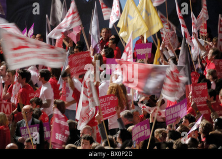 Socialist militants at a meeting of French Presidential election candidate Ségolène Royal, March 22nd, 2007, Marseille, - Stock Photo