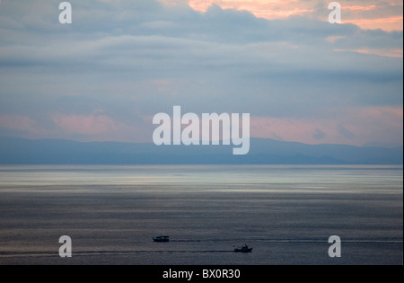 Storm gathering over the Messinian Gulf, Peleponnese, Greece - Stock Photo
