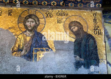 Deësis mosaic at the South Gallery. Hagia Sophia, Aya Sofya, interior view. Sultanahmet, Istanbul, Turkey - Stock Photo