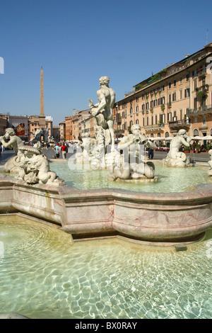 Fontana di Nettuno on Piazza Navona in Rome, Roma, Italy - Stock Photo
