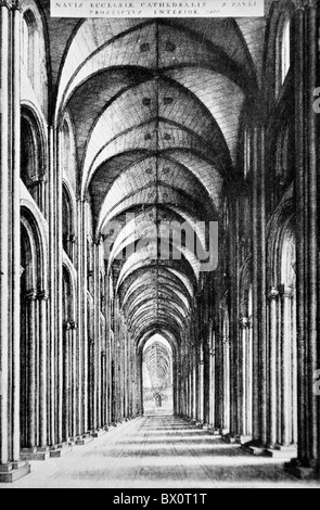The Interior of the Nave of Old St Paul's Cathedral, London; Black and White Illustration; - Stock Photo