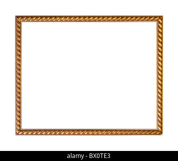 Golden ornately picture frame, isolated on white - Stock Photo