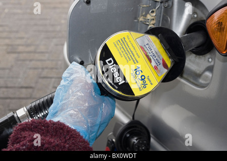 Motorist wearing plastic disposable gloves whilst holding a fuel pump to fill a vehicle with Diesel at a gas filling - Stock Photo