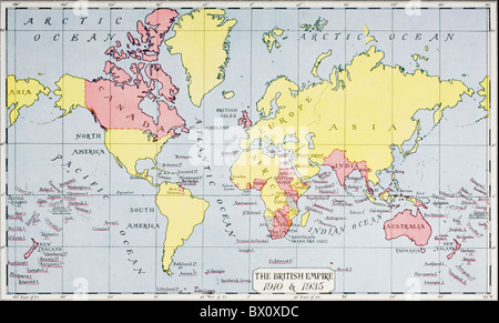 Map showing the King George V's empire, in red, in 1910 and 1935. - Stock Photo