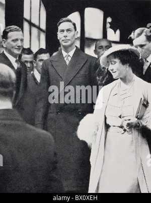 King George VI and Queen Elizabeth leaving Westminster Abbey after their coronation rehearsal in 1937.