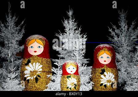 Christmas decoration; Russian doll; Poupée Russe; Puteaux near La Défense, Paris; France; Europe - Stock Photo