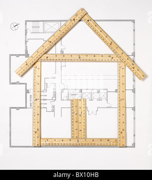 house made of rulers - Stock Photo