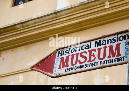 Street Sign at Galle Fort, Sri Lanka for the Historical Mansion Museum - Stock Photo