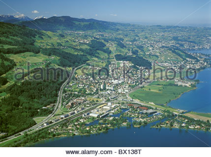 Aerial photo canton schwyz lake lachen obersee scenery for Innendekoration pfaffikon zh