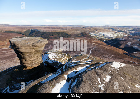 Fairbrook naze in winter on Kinder Scout in the Dark Peak part of the Peak District National Park, Derbyshire, UK - Stock Photo
