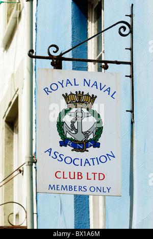Royal Naval Association Club Ltd, Members Only sign, Aberystwyth, Wales - Stock Photo