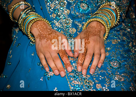 Close up of an Indian bride's hands - Stock Photo